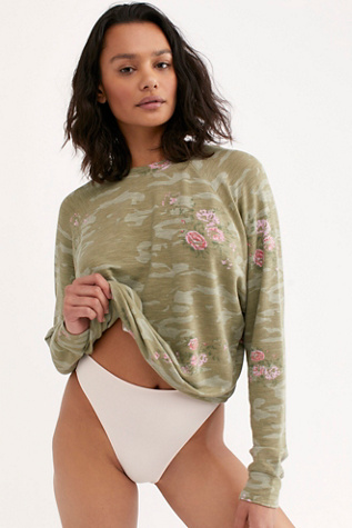 Soft Floral Camo Raglan Pullover by Monrow