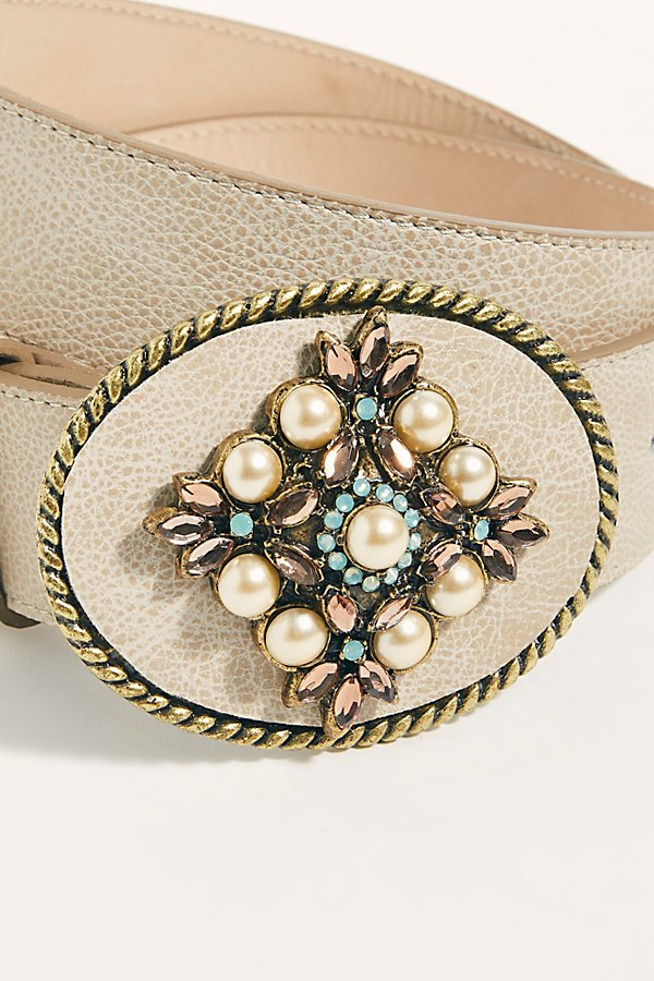 Slide View 3: Embellished Pearl Western Belt