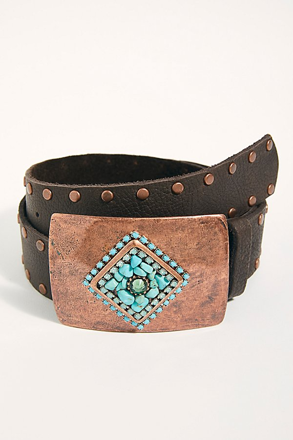 Slide View 1: Amber Embellished Leather Belt
