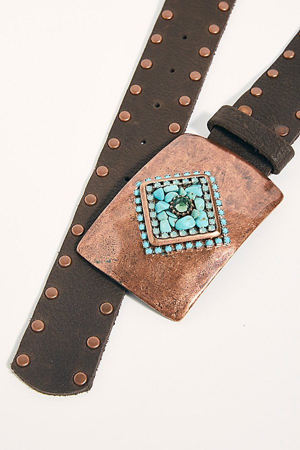 Slide View 2: Amber Embellished Leather Belt
