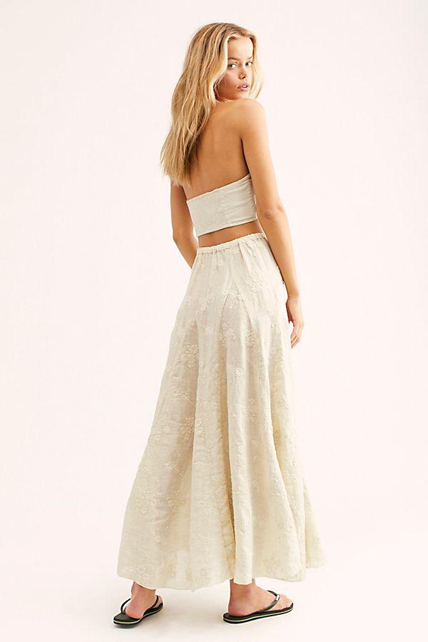 5ed6218d70a92 Lily Linen Jacquard Maxi Skirt