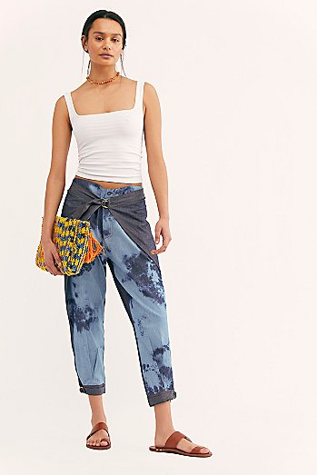 Two-Toned Tie Dye Wrap Pants