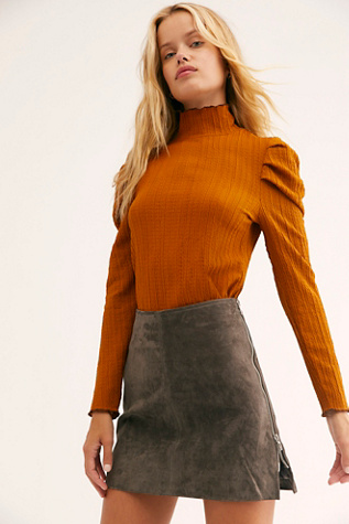 Suede Double Zip Mini Skirt by Blank Nyc
