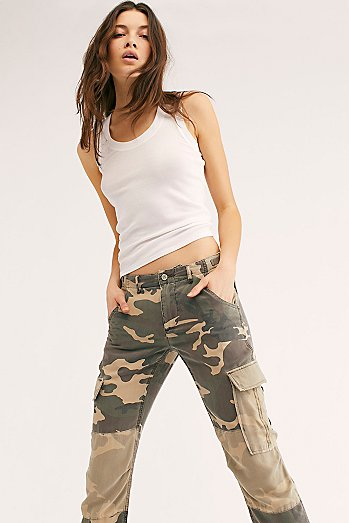 Rolled-Up Patchwork Cargo Pants
