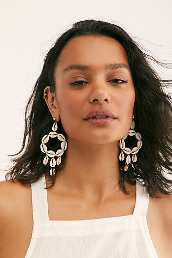 Lena B Luna Shell Hoop Earrings
