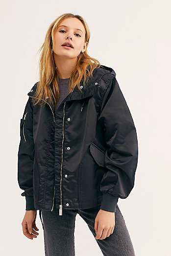 Insulated Drawstring Bomber Jacket