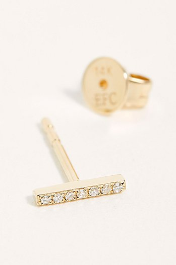 14k Diamond Mini Bar Stud Single Earring