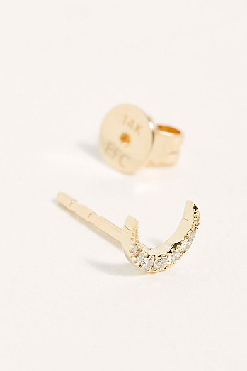 14k Mini Diamond Moon Stud Single Earring
