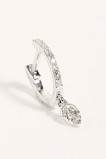 14k Diamond Mini Huggie Hoop Single Earring