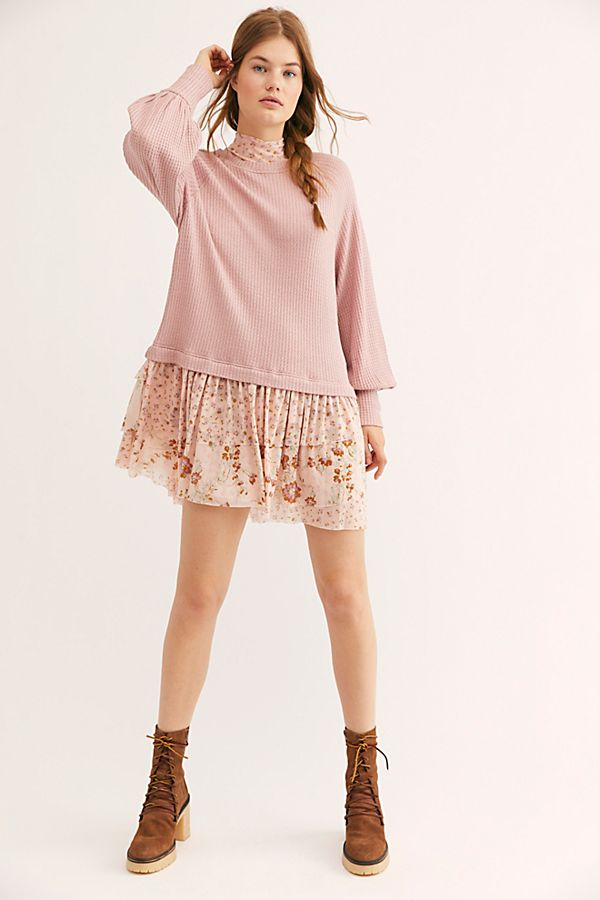 Tree Swing 3 Top in Pearl combo//pale pink NWT Free People