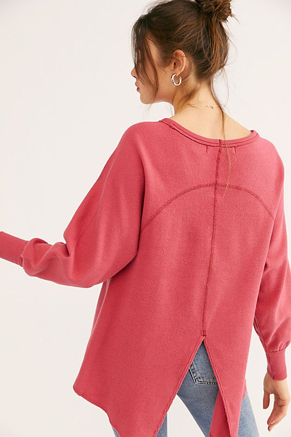 Free PeopleMake It Easy Long Sleeve Thermal T-ShirtRedL
