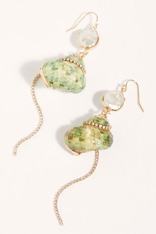 Shimmer Shell Dangle Earrings by Free People