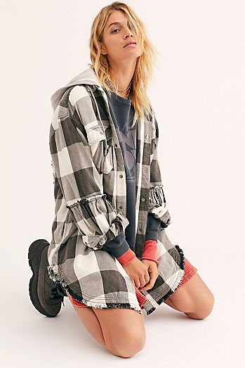 New Moon Plaid Shirt Jacket