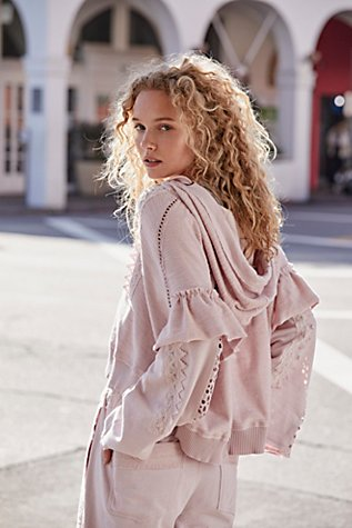 Free People FP Movement Heartbeat Hoodie Top Sweatshirt Layered Pink XS New
