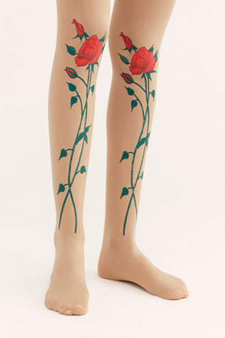 Tattoo Rose Tights by Free People
