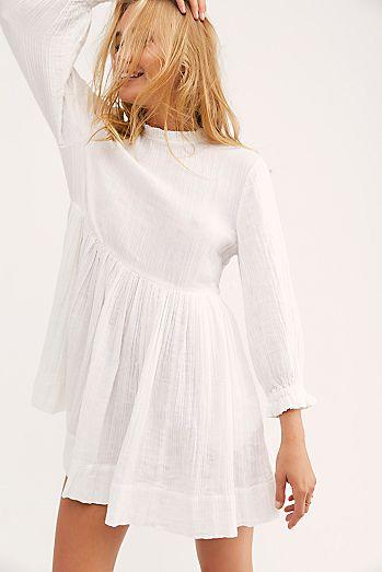 Mock Neck White Dresses Little
