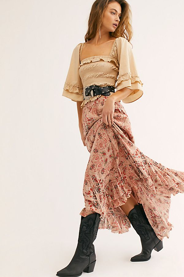 cypress printed ruffle skirt