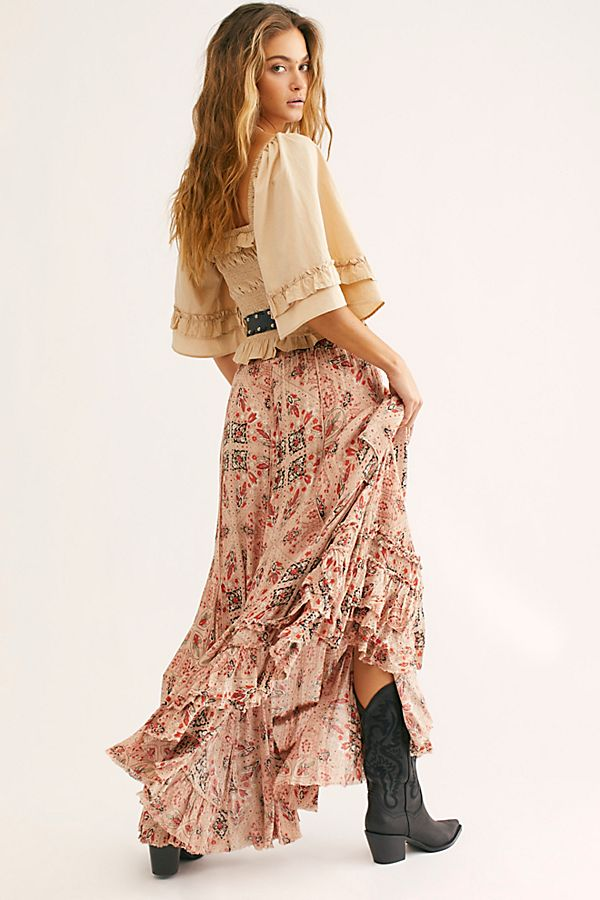 printed ruffled skirt