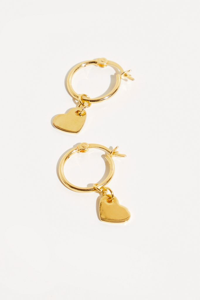 Gold heart hoop earrings - Free People