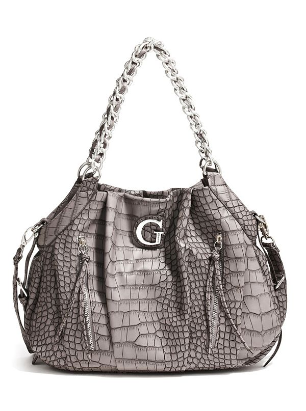 Celeste Croc-Embossed Slouchy Hobo Bag | Guess Factory Canada