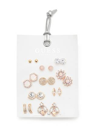 Geometric Rhinestone Stud Earrings Set by Guess