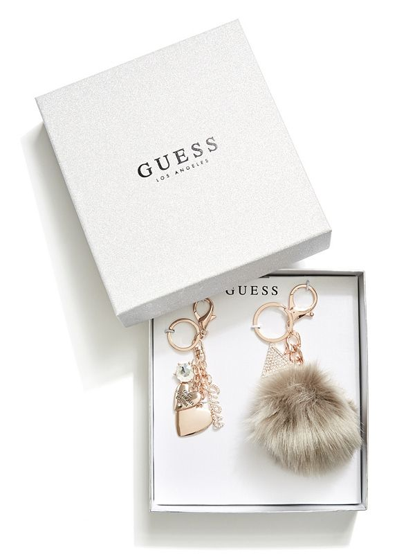 8fbcc7992ff2d Rose Gold-Tone and Grey Pom Keychain Set | GuessFactory.com
