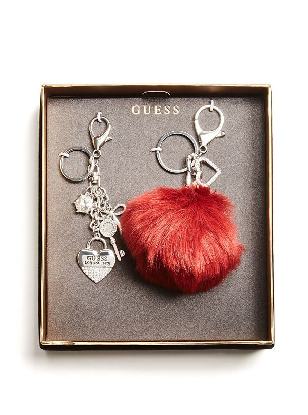 a34b6ee0cc71a Silver-Tone Pom Keychain Gift Set | GuessFactory.com