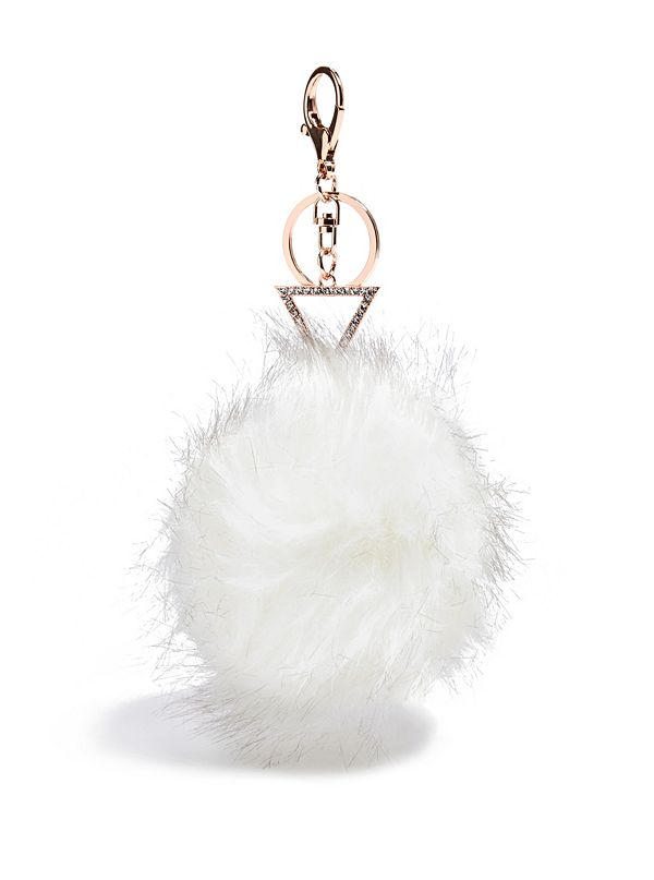 White Faux-Fur Pom Keychain. Out of Stock 356004494