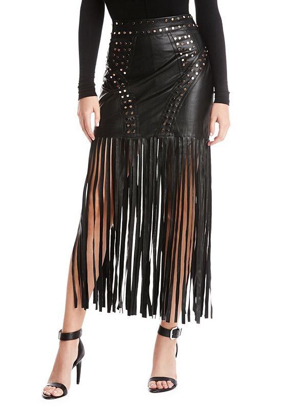 Behati Faux-Leather Fringe Skirt | GUESS by Marciano