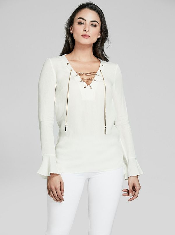 e9bcbe27 Lace-Up Long-Sleeve Blouse | GUESS by Marciano