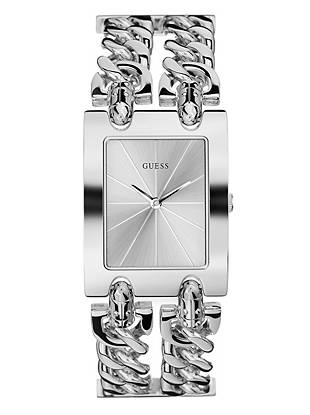 Silver Tone Chain Link Watch Guess Com