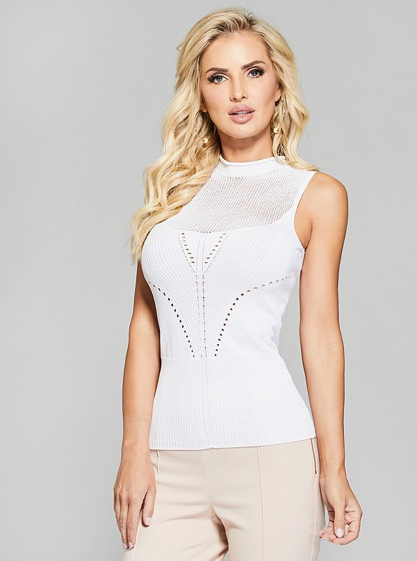cdc887fd2919 Pointelle Sleeveless Sweater Top | GUESS by Marciano