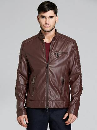 Padded Leather Biker Jacket by Guess