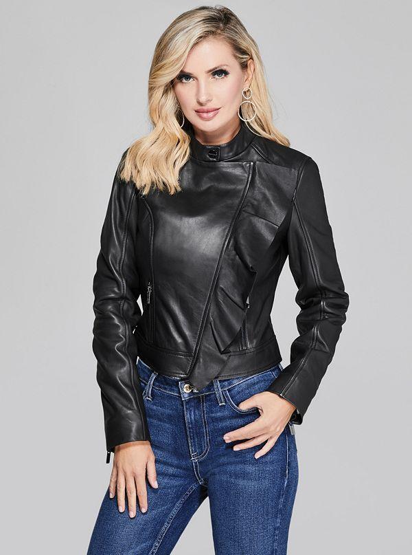 60842ceeac83e Daniel Moto-Zip Ruffle Leather Jacket