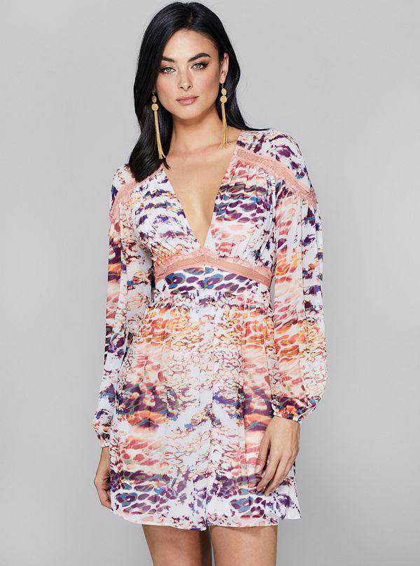 feec9f66a499f Techno Leopard Lace-Trim Dress