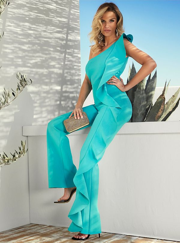 42e79811065 Mozart One-Shoulder Ruffle Jumpsuit