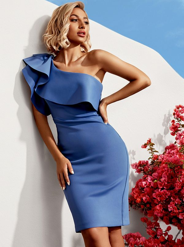 ea52b6972120 Martinique Ruffle Scuba Dress