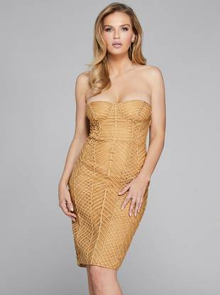 Axel Embellished Strapless Dress by Guess