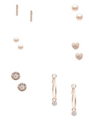 Pave Heart Rose Gold Tone Earrings Set by Guess