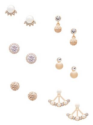Pearla Gold Tone Earrings Set by Guess