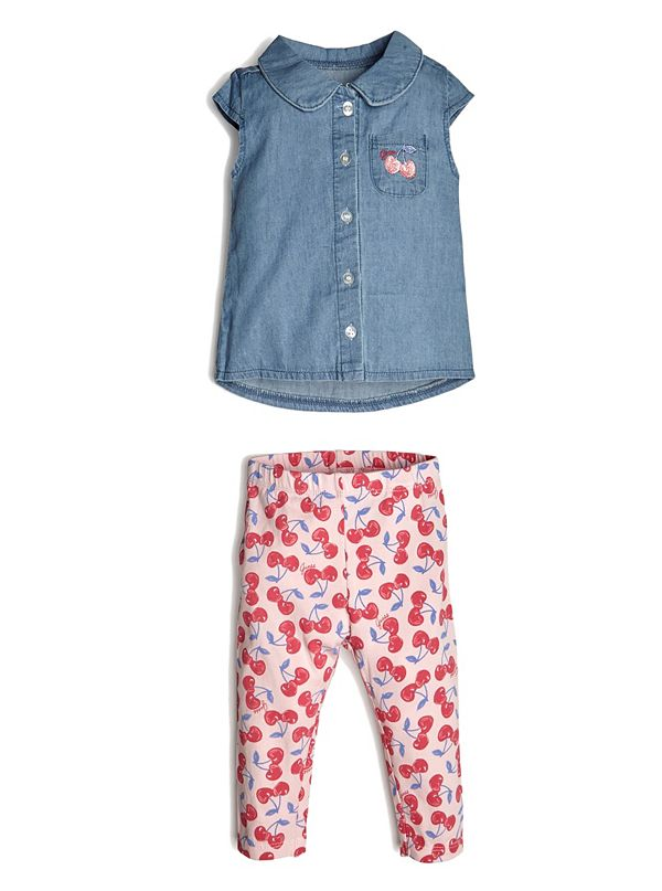 060badd7b Chambray Shirt and Cherry Leggings Set (0-24M)