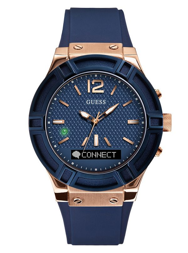 14cbe18b2 GUESS CONNECT Smartwatch in Blue 45mm | GUESS.com