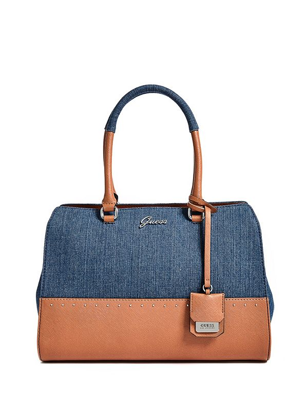 276a5c9d887 Out And About Denim Satchel   Guess Factory Canada