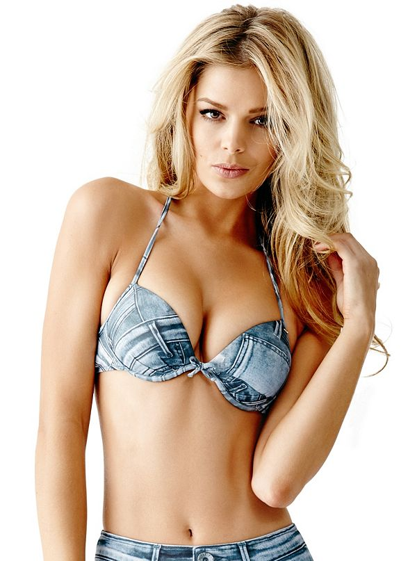 denim print super push up bikini bra top. Black Bedroom Furniture Sets. Home Design Ideas