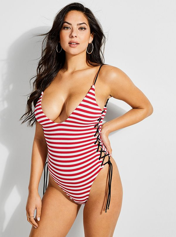b40995a6 Lace-Up Striped One-Piece Swimsuit