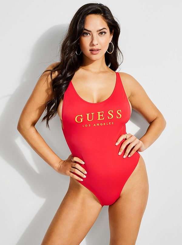 38f48723058 GUESS Originals Logo One-Piece Swimsuit