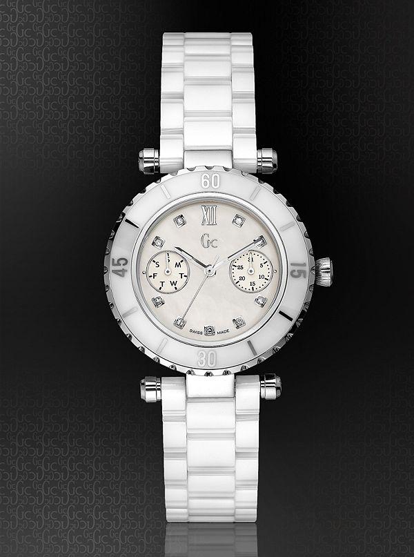 cb7953975 GC DIVER CHIC Diamond Dial White Ceramic Timepiece | GUESS.com