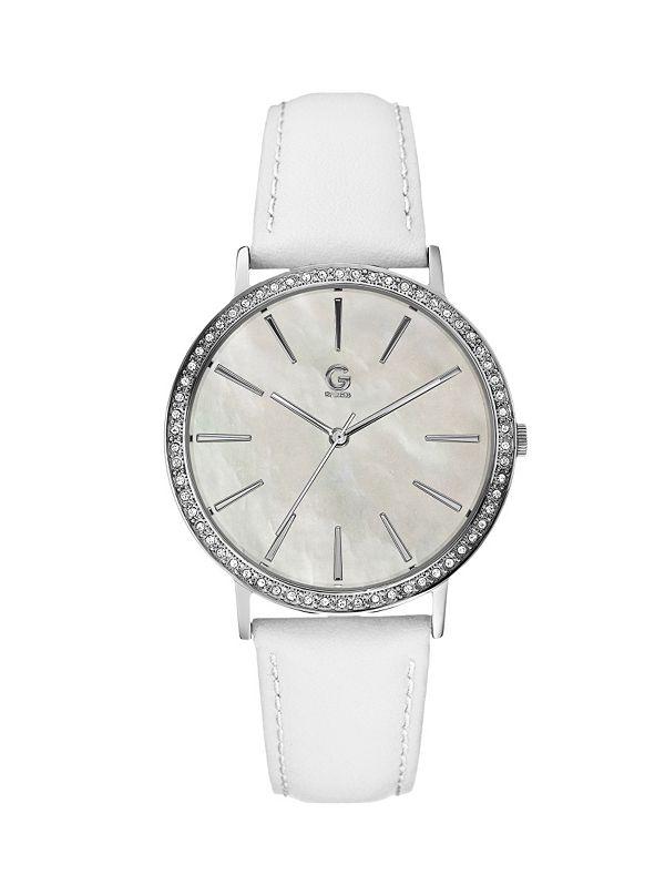 b2f4d0470 Glitz White Leather Watch | GUESS.com