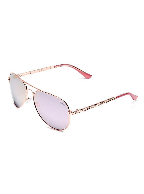 08e5a818c90f Metal Chain-Link Aviator Sunglasses | GuessFactory.com