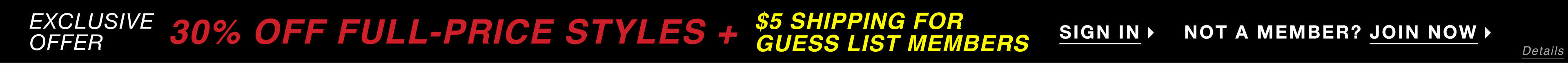 $5 Shipping For Guess List Members